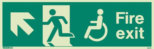 (4047) Jalite Mobility Impaired Fire Exit Up Left sign