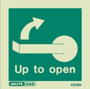 4249 jalite handle up right to open door sign