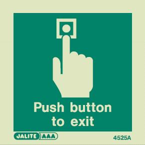 (4525) Jalite Push Button To Exit Door Sign