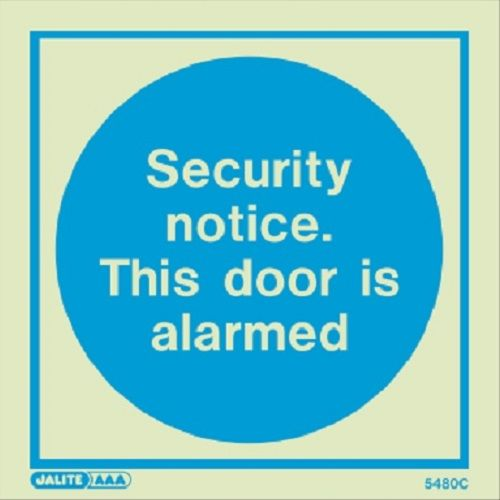 (5480)  Security notice. This door is alarmed