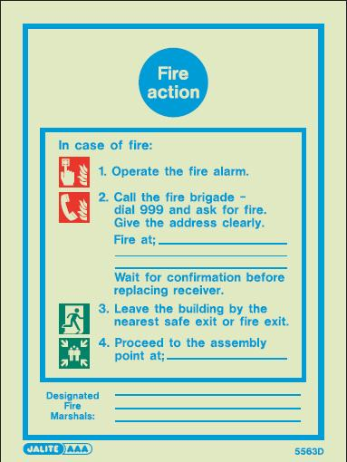 (5563D) Jalite Fire Action Notice Sign