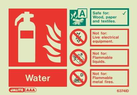 (6374ID) Jalite Water Fire Extinguisher Sign