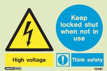 (7438Y) Jalite High voltage Keep locked shut when not in use sign