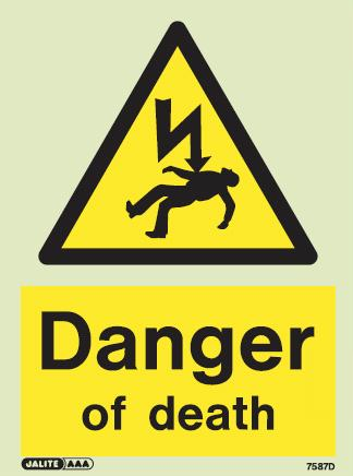 (7587) Jalite Danger of death electrical hazard warning sign