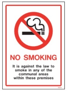 (W9031S) NO SMOKING communal areas Sign