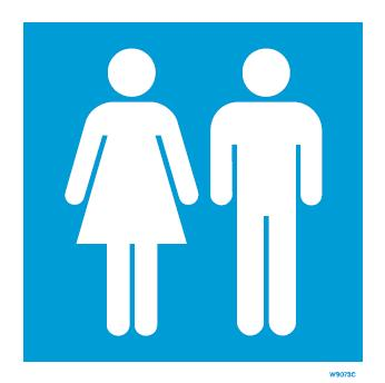 (W9073) Rigid PVC Blue Ladies & Gents Toilet sign