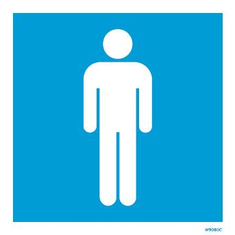 (W9080) Rigid PVC Blue Gents Toilet sign