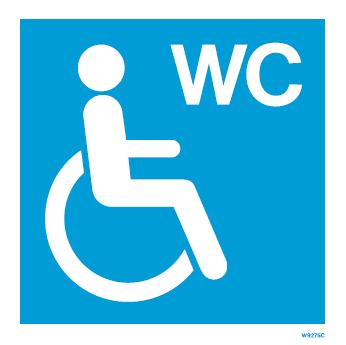 (W9275) Rigid PVC Blue Disabled toilet sign