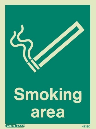 Photoluminescent Smoking Area Signs