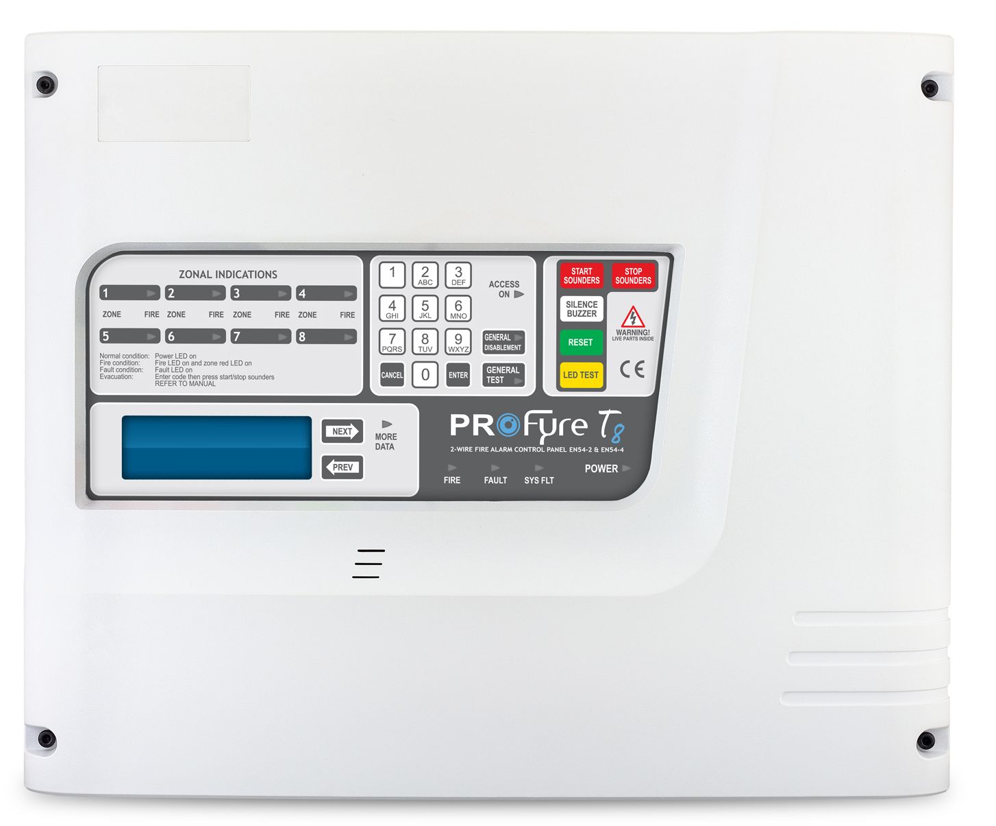 ProFyre T8 8 Zone 2-Wire Fire Alarm Panel (T8-8)