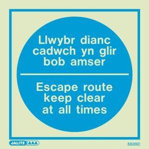 Welsh / English - Fire Safety Instruction Signs