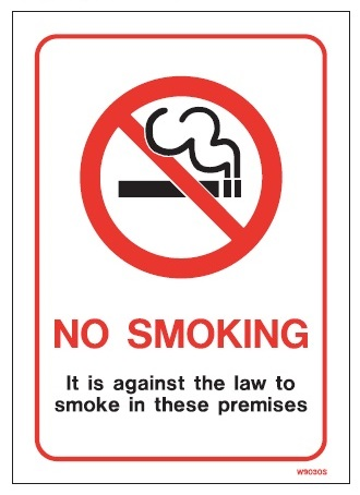 White Vinyl Smoking Prohibition Signs